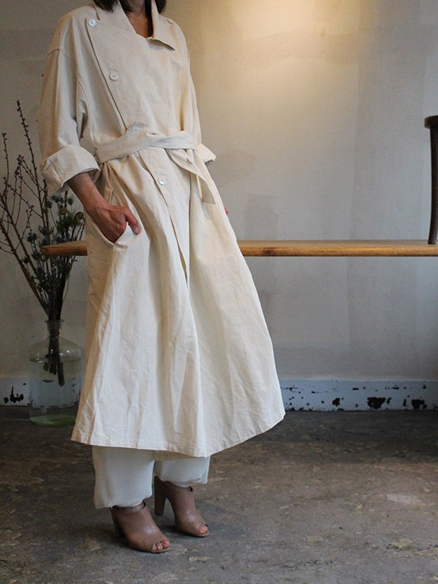 50's-60's French cotton linen coat dead stock