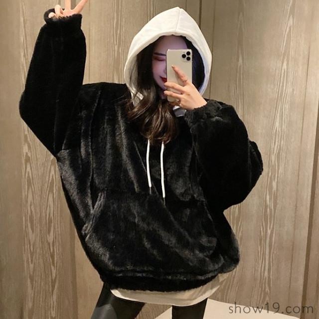 【トップス】韓国系フード付き合わせやすいゆったり暖かいセクシー配色 パーカー36749089