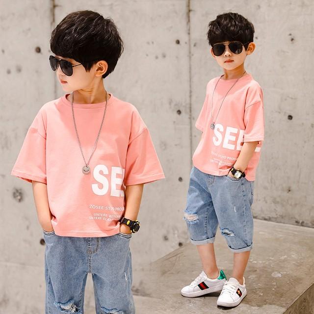 【トップス】ファッションアルファベットプリント半袖スリム男の子Tシャツ30311956