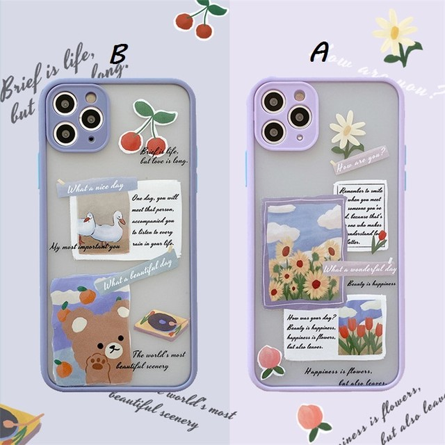 Flower bear label iphone case