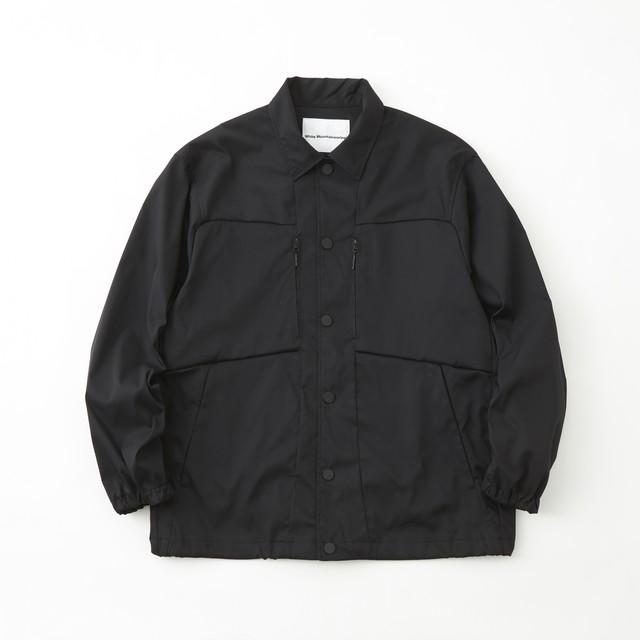 STRETCHED TWILL COACH JACKET- BLACK