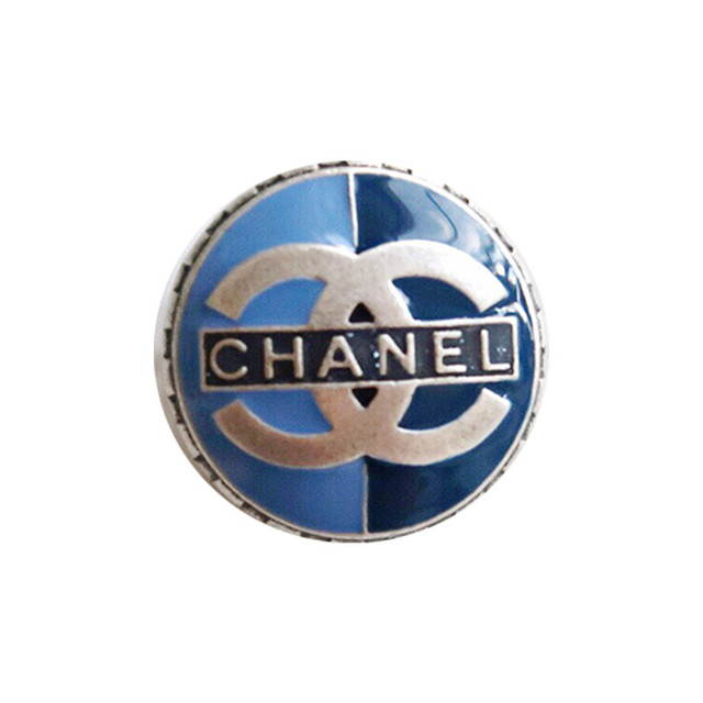 【VINTAGE CHANEL BUTTON】ブルー ロゴ ココマーク ボタン 14mm