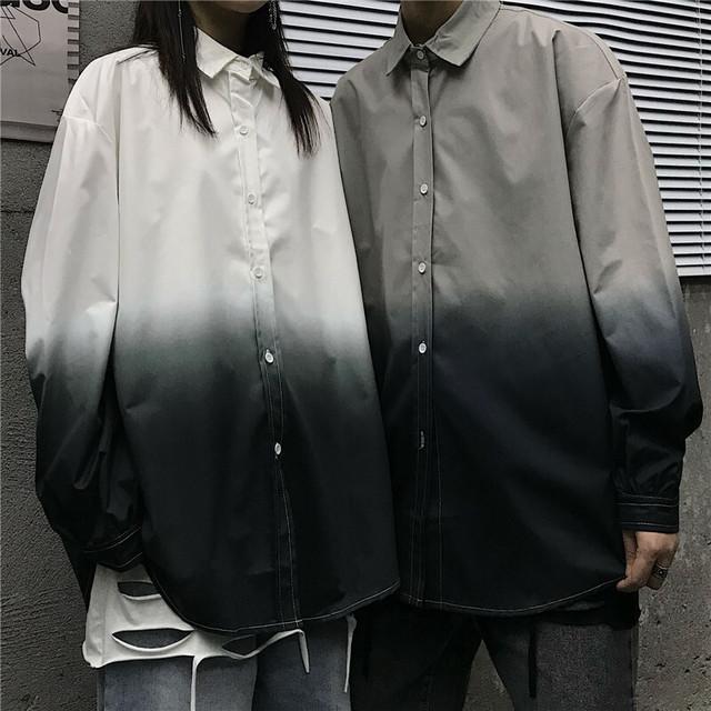 タイダイ調デザイン・裾水平カット長袖シャツ