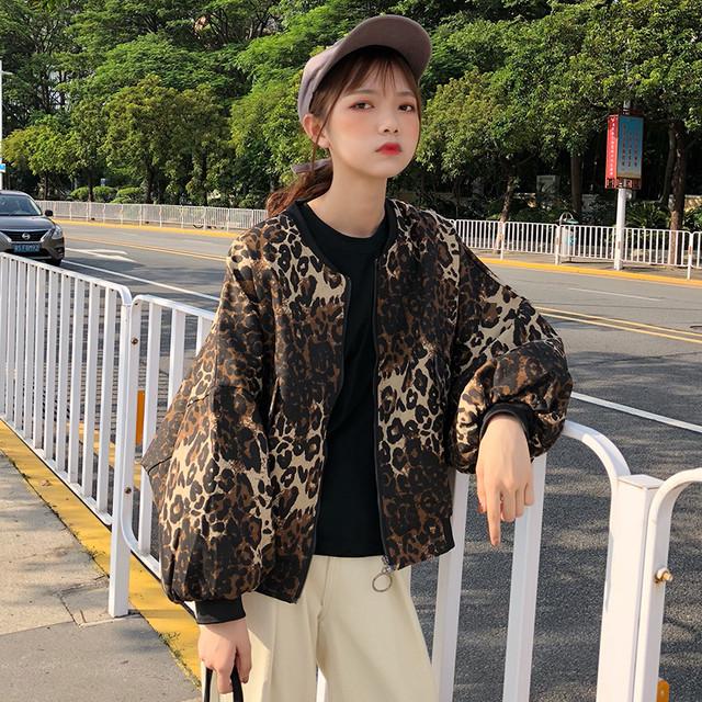 【送料無料】渋いヒョウ柄がかっこいい♡ MA-1 ジャケット ブルゾン バルーン袖 レオパード