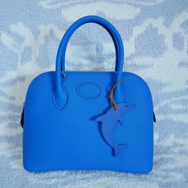 納品済 牛本革 手縫いラウンドバッグ
