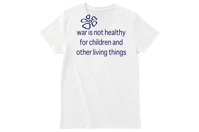 war is not healthy(戦争は不健康) Vネックカットソー ホワイトネイビー ★期間限定受注製作品 ~3月3日(日)まで