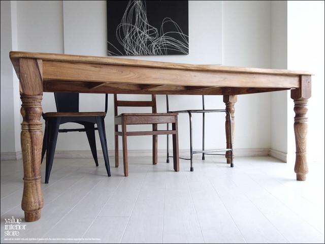 オールドチークダイニングテーブルLwave 食卓テーブル 机 チーク材 手作り 天然木 木製 ナチュラル 銘木 総無垢 和風 幅180cm × 奥行き90cm