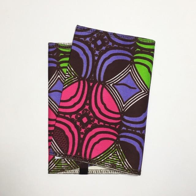 ブックカバー アフリカンテキスタイル(日本縫製) 三つ葉 アフリカ エスニック ガーナ布