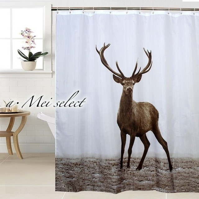 抜群の存在感!大きな鹿のインテリアカーテン アニマルパーテーション 北欧雑貨 目隠しカーテン 仕切り  シャワーカーテン