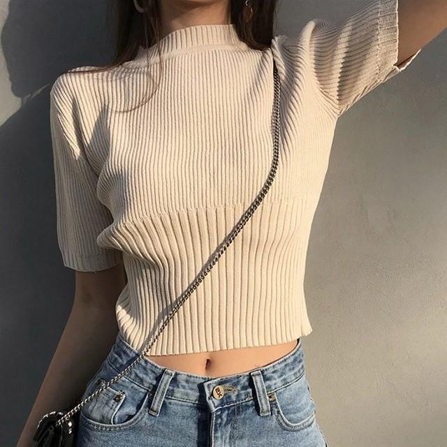 【tops】大活躍韓国系薄手ニットラウンドネック細見せシンプル半袖Tシャツ
