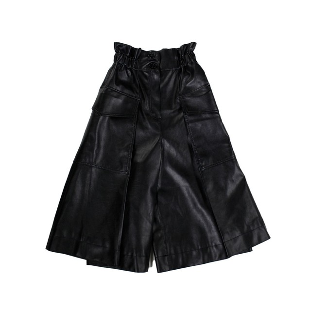 J KOO Fake Leather Cropped Wide Trousers SizeXS