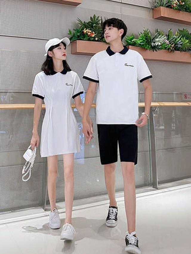 モノトーン ポロシャツ ワンピース 0952 メンズポロシャツ カップル ペアルック リンクコーデ カジュアル お揃い デート ゴルフ