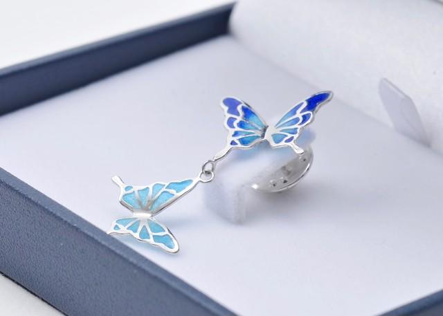 - 碧い蝶 - 七宝ブローチ/タックピン・プリカジュール