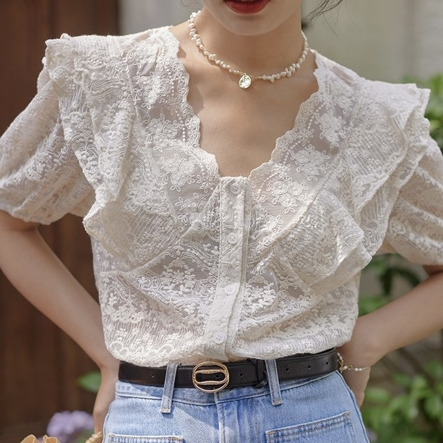 pleated lace V neck blouse