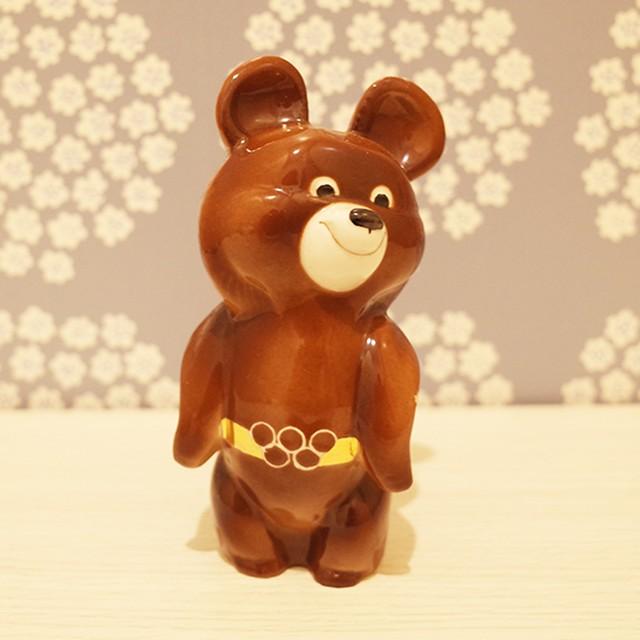【ロシア】 ミーシャ 陶器の人形 (大) こぐまのミーシャ 旧ソ連