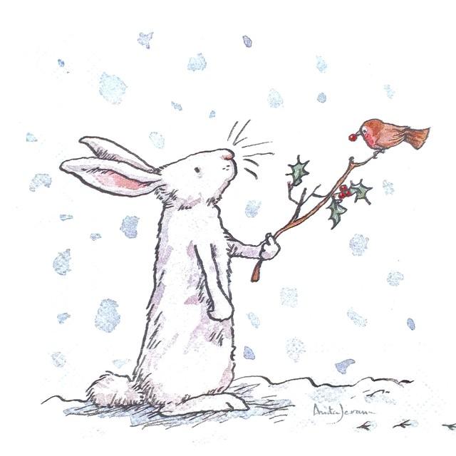 【IHR】バラ売り2枚 ランチサイズ ペーパーナプキン SNOW RABBITS ホワイト Anita Jeram