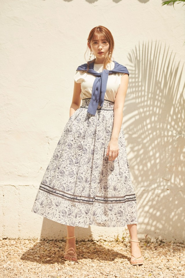 Paisley-Print Cotton Long Skirt