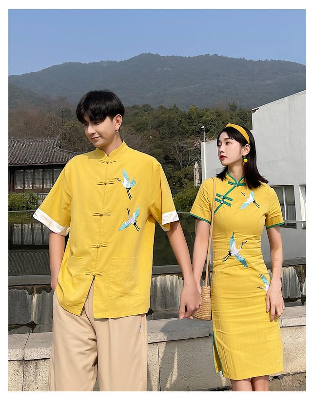 鶴 チャイナドレス ワンピース 0916 メンズチャイナシャツ チャイナ服 カップル ペアルック リンクコーデ カジュアル お揃い デート