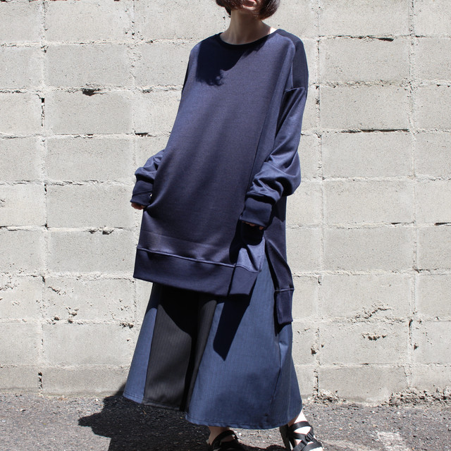 Long-Slit-Sleeve-dress (navy)