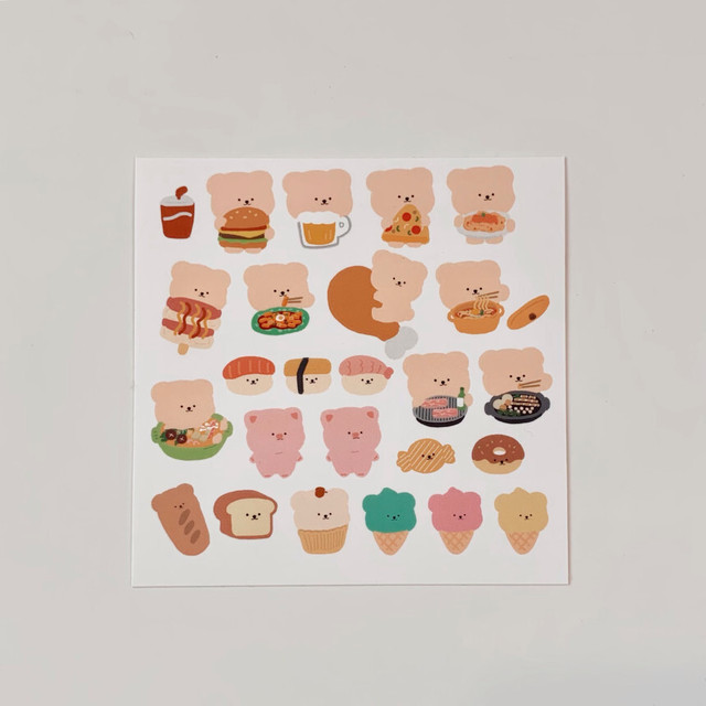 [BAMTOREE] FOOD型抜きステッカー (1種全2枚)