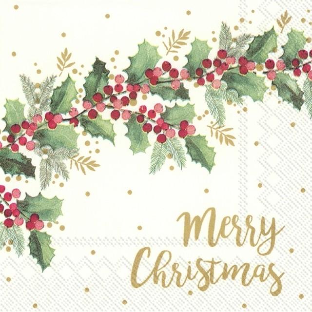 完売再入荷【IHR】バラ売り2枚 カクテルサイズ ペーパーナプキン MERRY CHRISTMAS クリーム