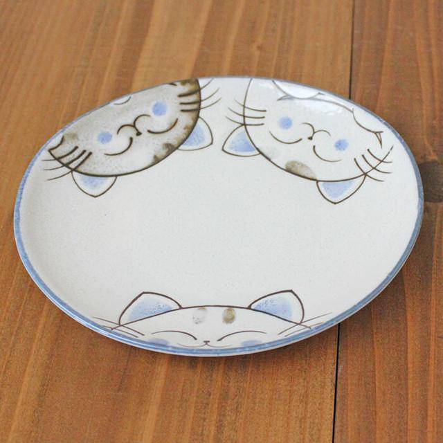 【水晶ねこ】軽量楕円5.5寸鉢【猫柄 肉球付 猫雑貨】