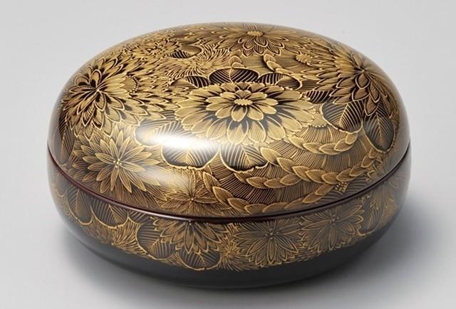 菊彫 菓子器 一個