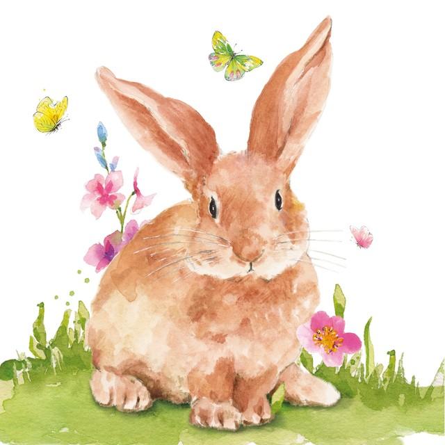 予約商品【Paperproducts Design】バラ売り2枚 ランチサイズ ペーパーナプキン Mr. Rabbit ホワイト