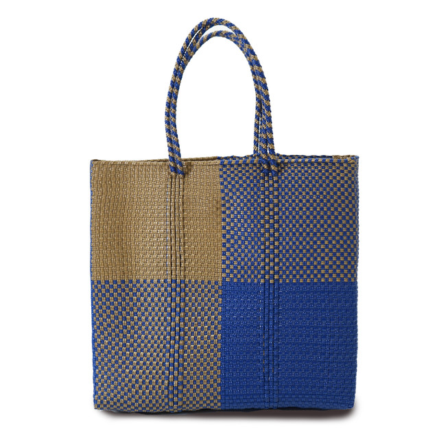 MERCADO BAG BLOKS  SEMI LONG HANDLE  - Navy x Gold(M)