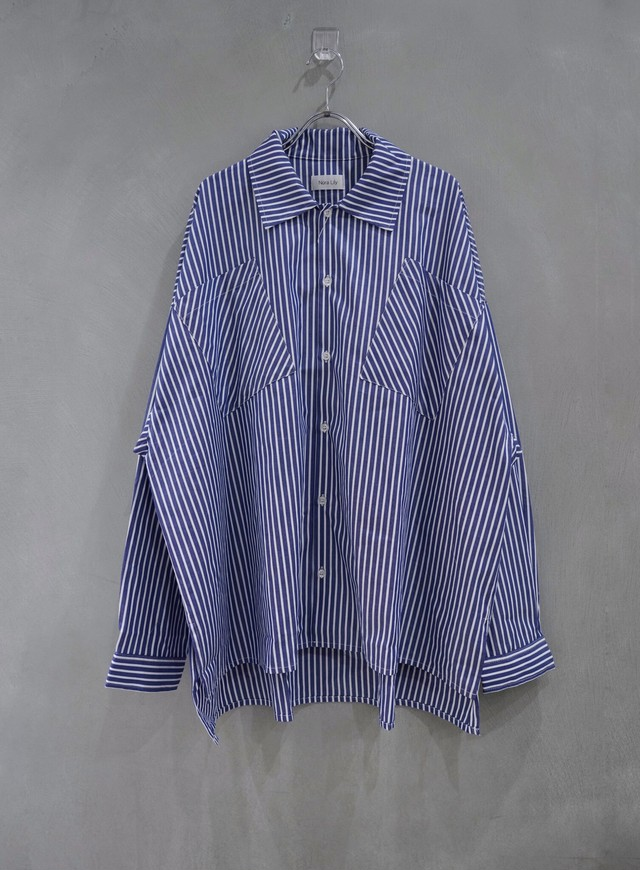 Nora Lily over size L/S shirt   stripe Blue
