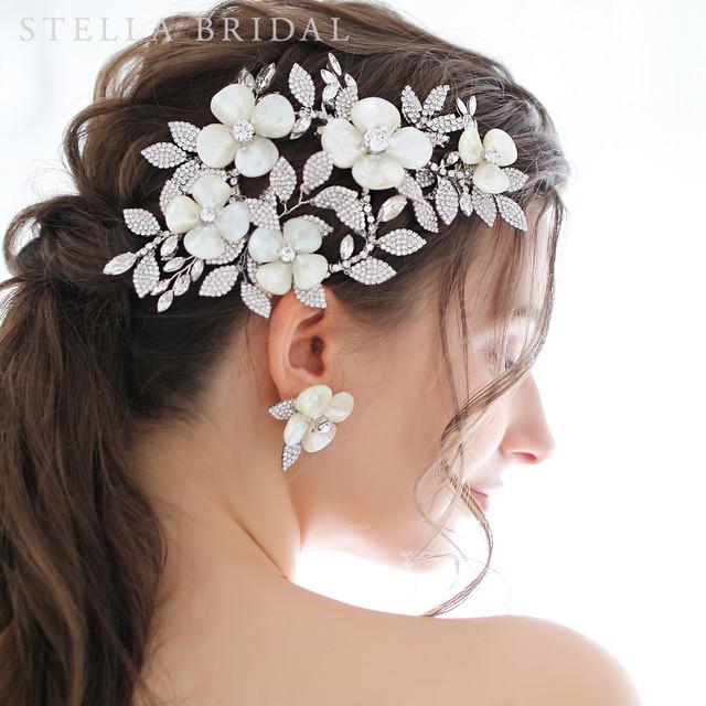 【受注生産品】スワロ使用 シェルフラワーとリーフチャームのブライダルヘッドドレス JILL -  ジル  |ウェディングヘアアクセサリー