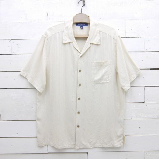 Croft&Barrow クロフト&バロー ストライプ柄 オープンカラー シルクシャツ メンズ Lサイズ