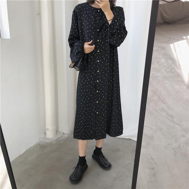 【dress】ルーズ長袖シフォンラウンドネックドット柄プリントワンピース
