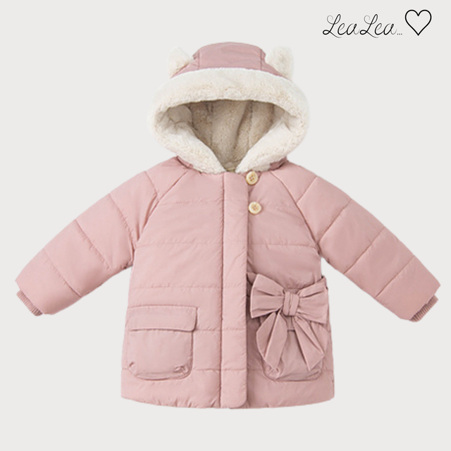 dave&bella2021AW新作♡リボンデザインフード付きピンクコート(73cm-130cm)| LeaLea...♡(レアレア)-海外の子供服セレクトショップ
