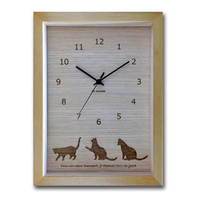 【HANG WATCH】ネコ(ベージュ)【時計 猫柄 ネコ柄 シルエット】