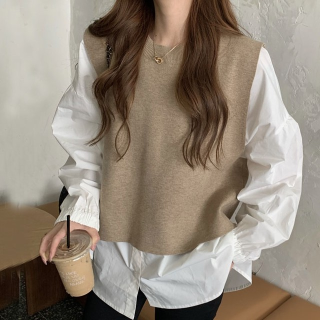 【セット】「単品注文」大人気 ファッション ラウンドネックニットベスト+シャツ34148797