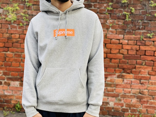 Supreme 17AW BOXLOGO HOODED SWEATSHIRT HEATHER GREY MEDIUM 355JG7164