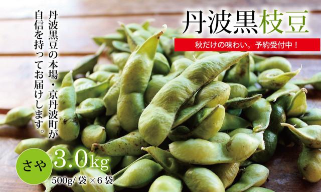 [KK002C]予約商品:10月15日以降発送開始 丹波黒枝豆 さや 3kg(京都・京丹波町産丹波黒大豆)