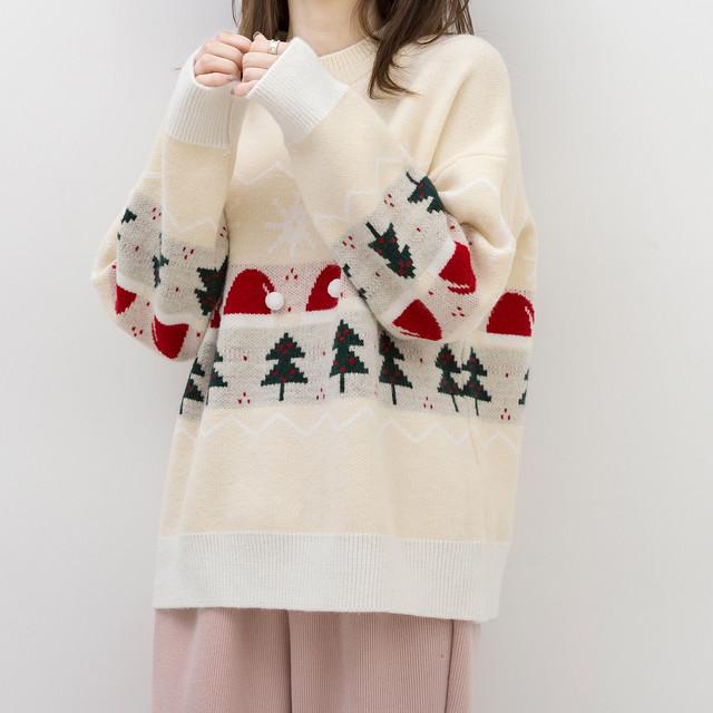 〈クリスマスシリーズ〉クリスマスラインのレイジーセーター【Xmas line lazy sweater】