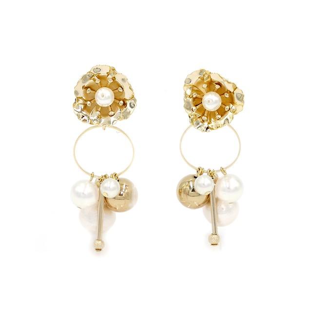 flower pearl 2way pierce/フラワーパール2wayピアス ゴールド