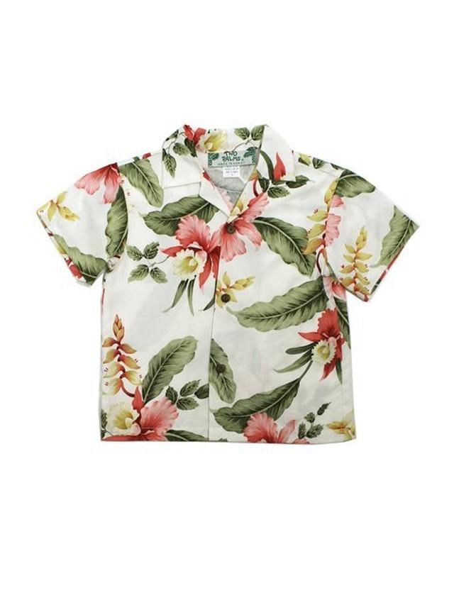 安心の国内配送!【Two Palms/トゥーパームス】アロハシャツ ボーイズ  1才から2才 普段着やリゾートウェアに◎