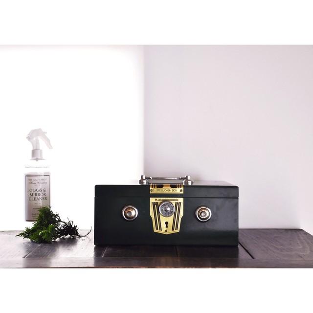 【小型金庫】収納箱 貯金箱 裁縫箱 モスグリーン 完品 日本製 昭和レトロ