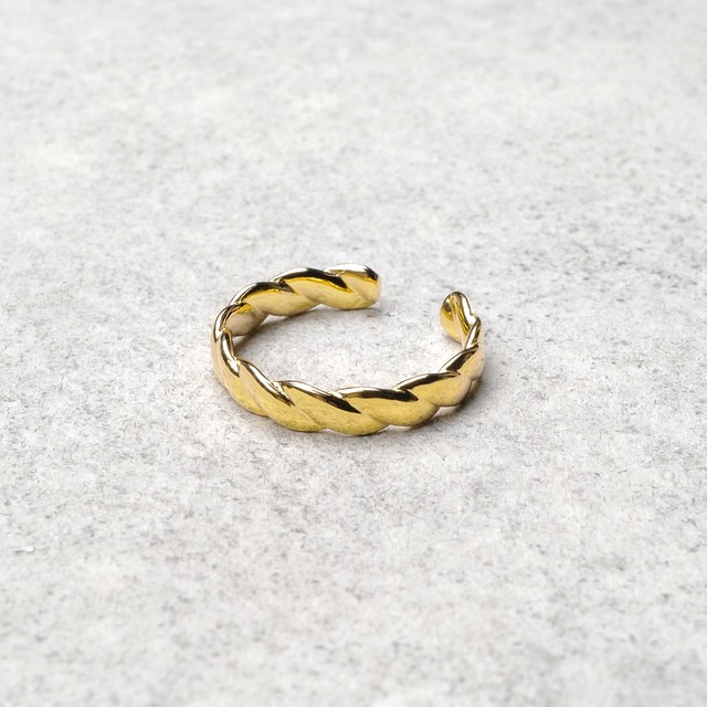 S925 TWIST OPEN RING GOLD