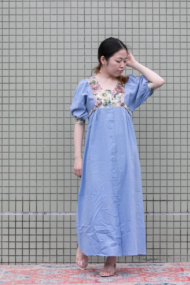 【Jabberwocky】1970's Chambrey tapestry dress (D182)