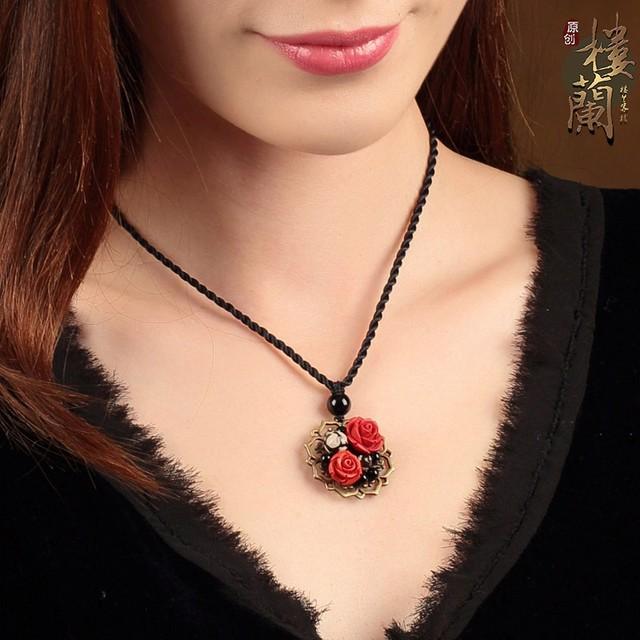 パワーストーン ネックレス オリジナル 民族風 鎖骨チェーン ハンドメイド ネックレス 中華風 ペンダント アクセサリー ブラック