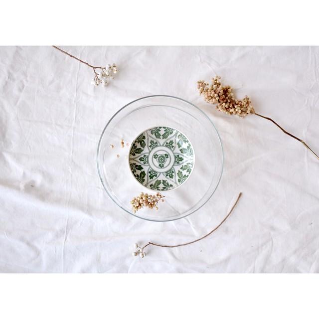 【 印判手塩皿 - 牡丹 - 】小皿 / green / antque / vintage / japan