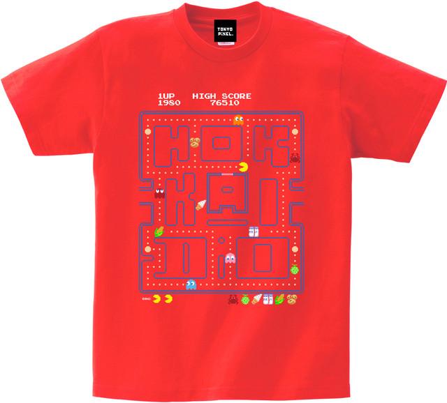 ご当地パックマン! 「 Hokkaido 」 Tシャツ  レッド
