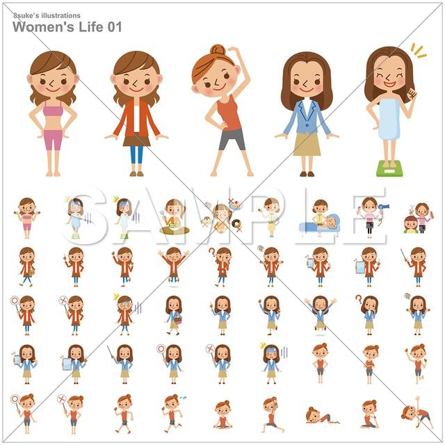 イラスト素材:若い女性のライフスタイル/バリエーションセット(ベクター・JPG・PNG)CD-R版