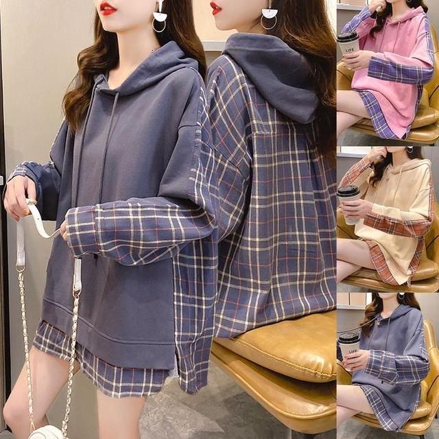 チェック柄 切り替えパーカー プルオーバー ドッキングトップス 長袖 韓国ファッション レディース パーカー 切り替え 大人可愛い ガーリー カジュアル / Fake two-piece hooded pullover plaid sweater (DTC-636279794778)
