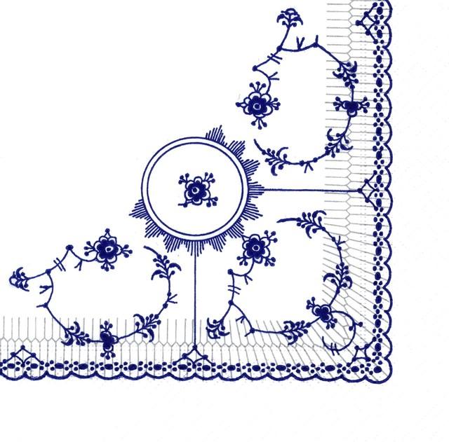 【ROYAL COPENHAGEN】バラ売り1枚 ランチサイズ ペーパーナプキン BLUE FLUTED ホワイト